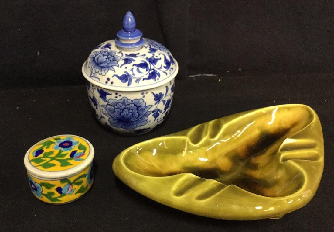 Lot 3 Hand Painted Ceramic Jars And Ashtray