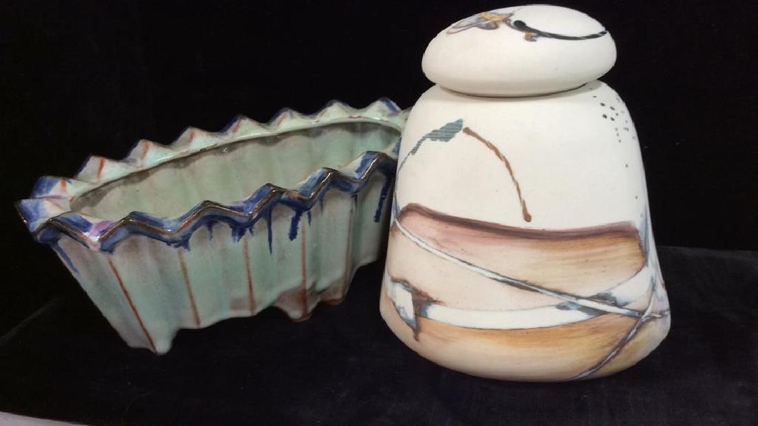 Lot 2 Porcelain Lidded Trinket Dish W PlanterVase