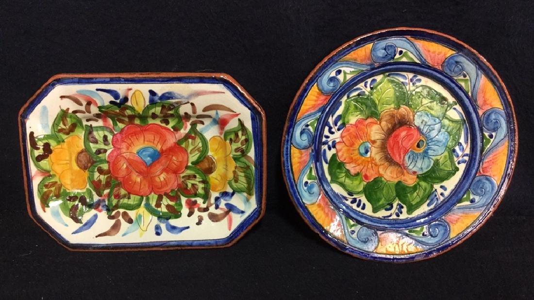 Lot 2 Hand Painted Terra-Cotta Decorative Plates