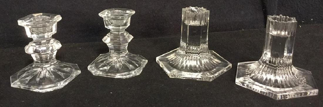 Lot 4 Crystal And Glass Candlesticks Tiffany & Co