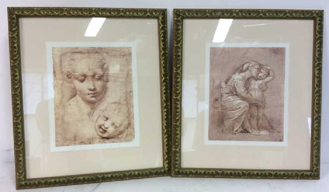 Pair Leonardo DaVinci Sketch Reproduction Prints