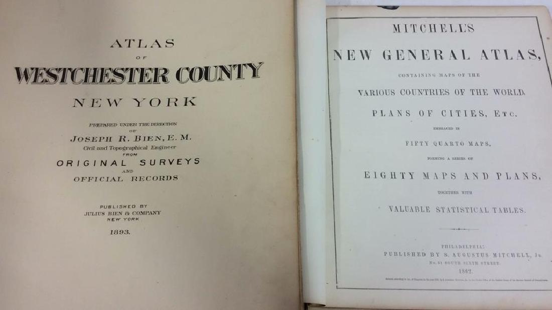 Pair Antique 19th Century Atlases, Bound Maps