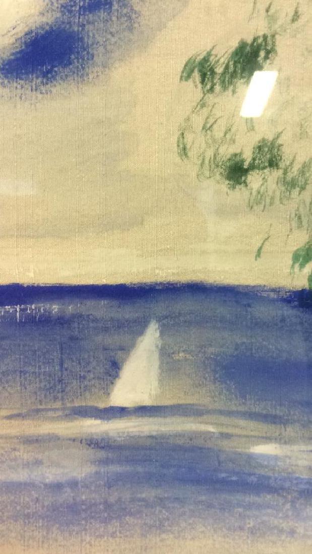 Beach Scene Through Window Painting on Silk