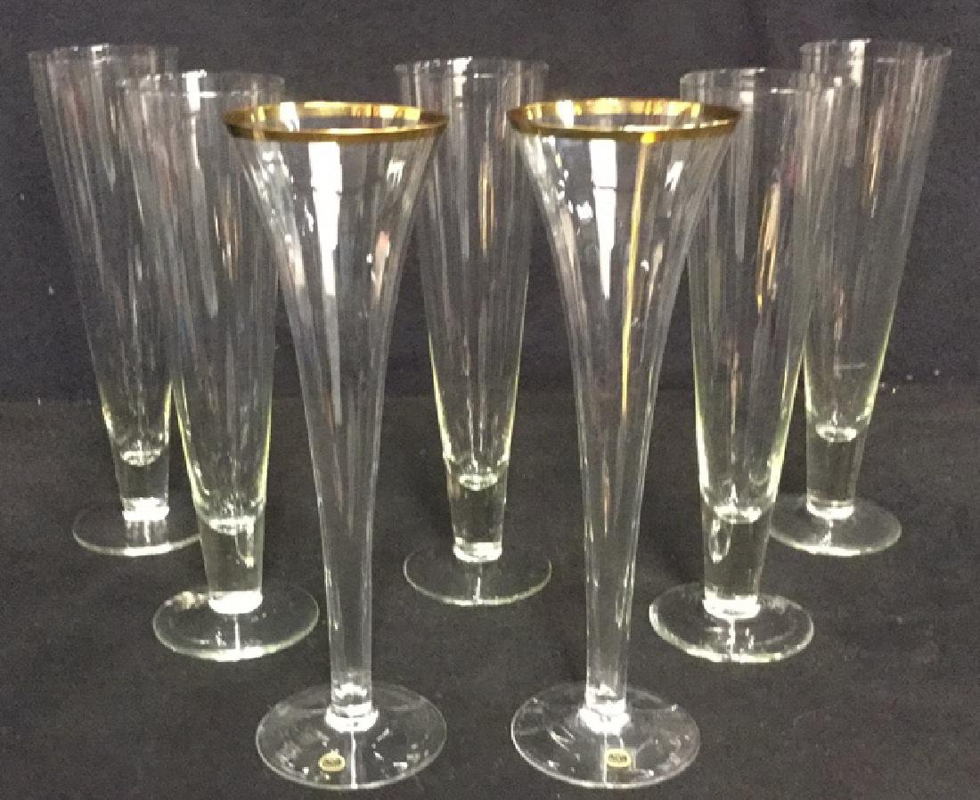 Lot 7 Crystal And Glass Champagne Pilsner Glasses