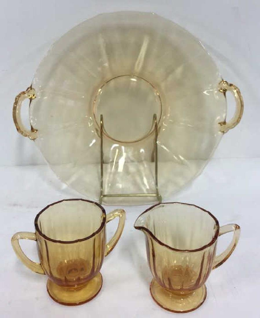 Lot 3 Vintage Orange Toned Glass Tableware