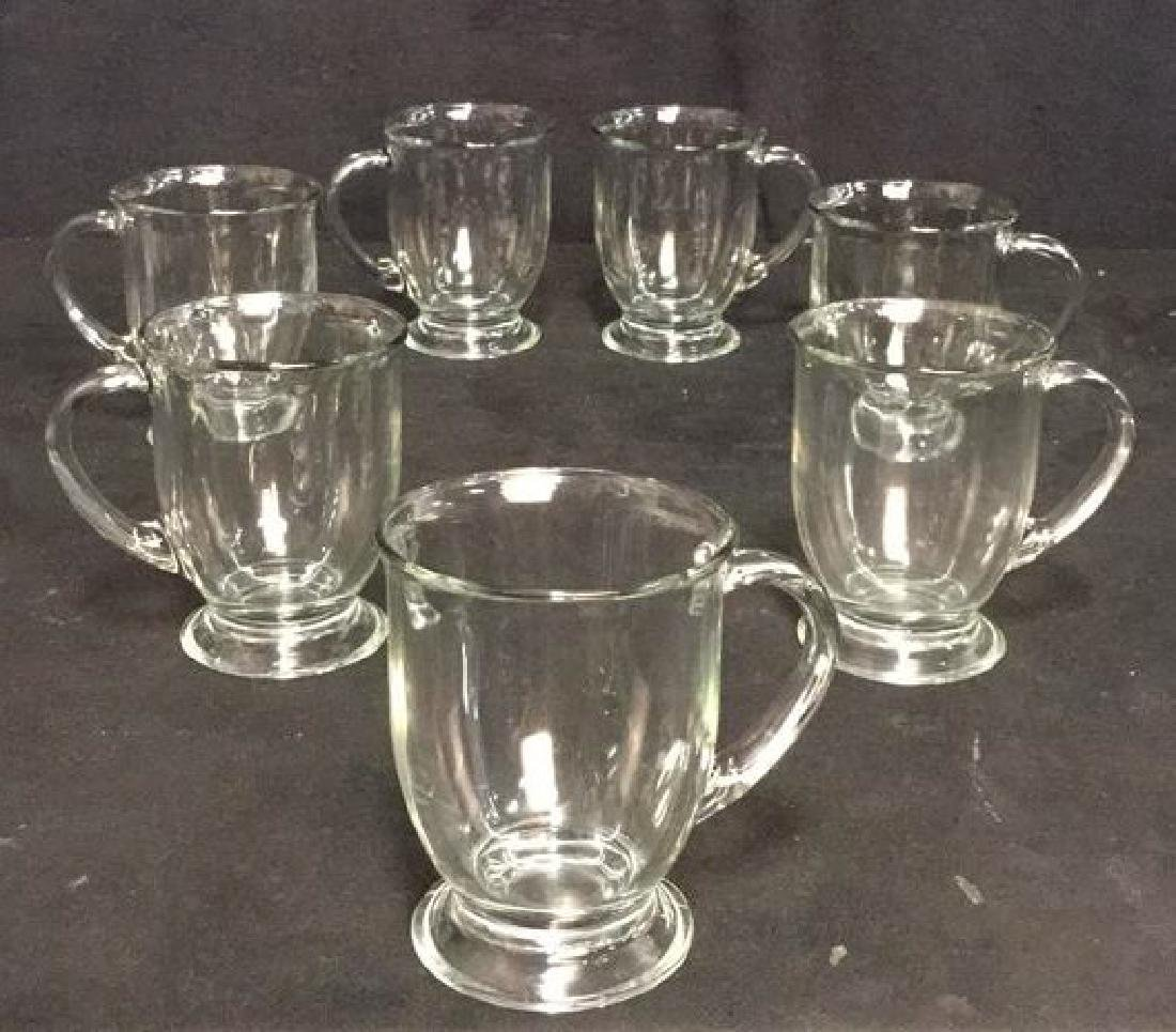 Lot 7 Large Glass Handled Mugs