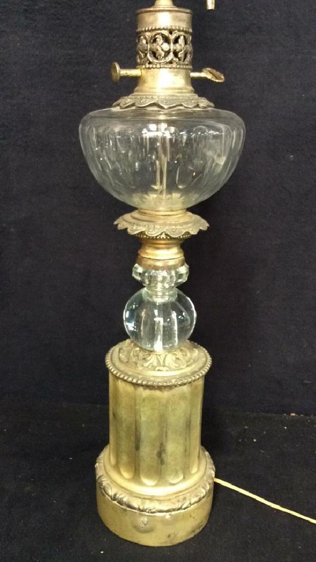 Crystal, Glass & Brass Lamp W Shade
