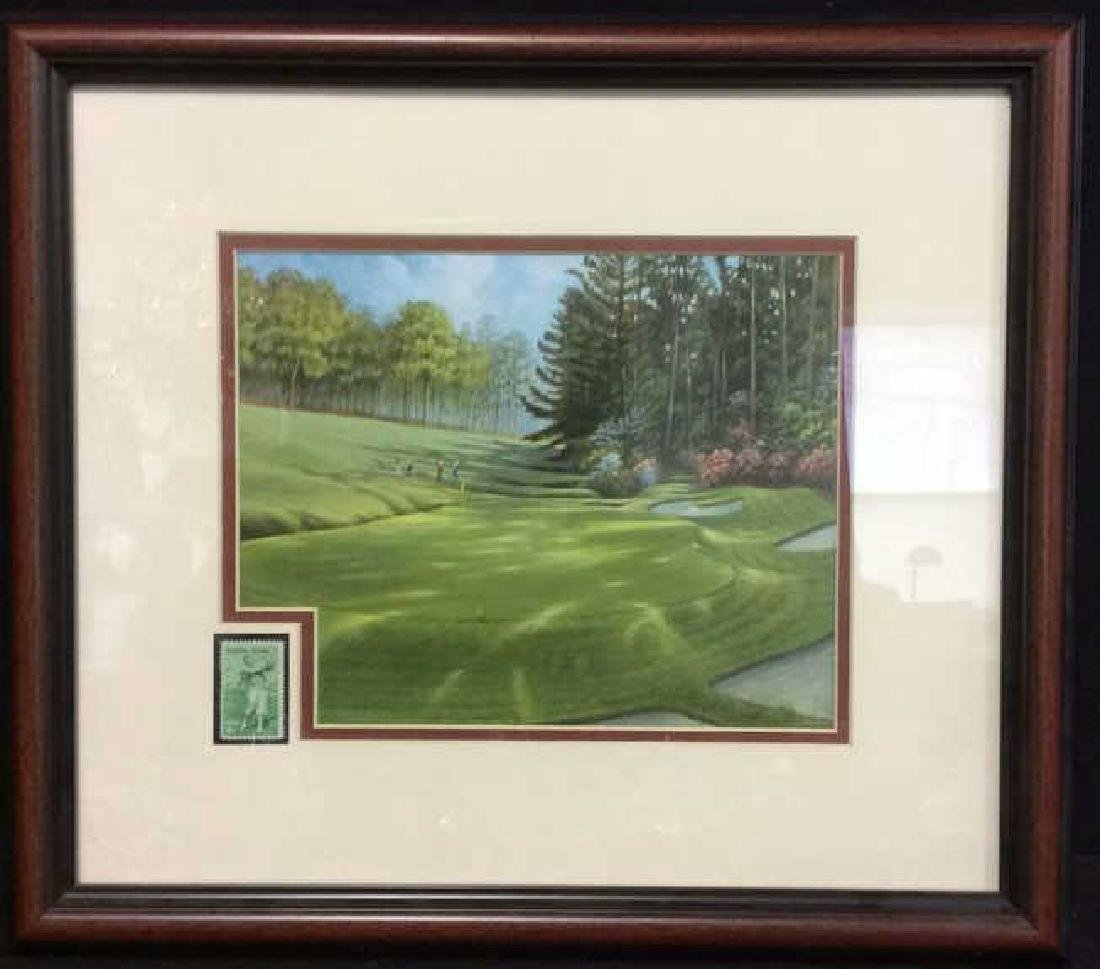 Framed & Matted 18th Hole Augusta w Bobby Jones Stamp