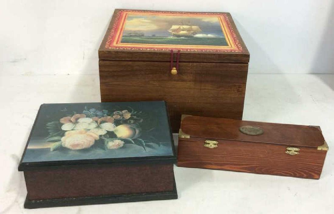 Lot 3 Wooden Box Desktop Accessories