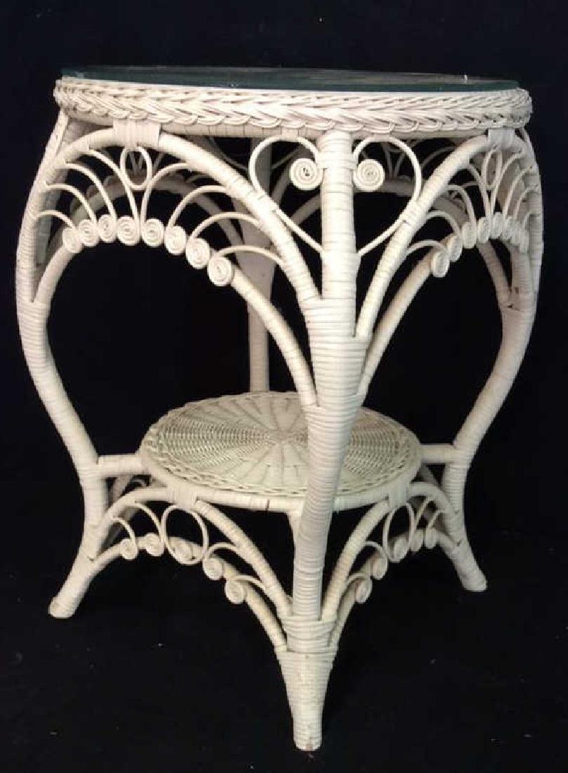 Vintage Curly White Wicker Table