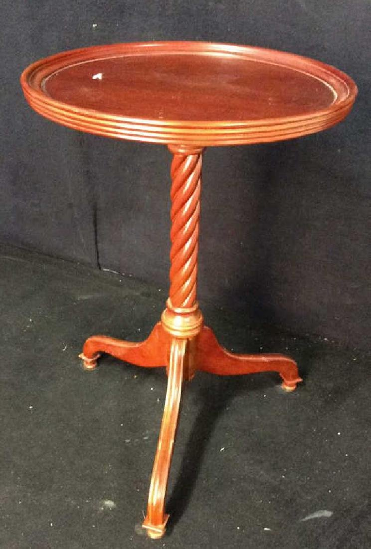 Circular Wood Pedestal Tripod Table