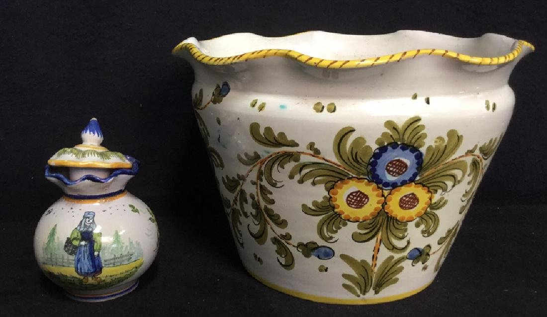 Lot 2 Vintage Hand Painted Ceramic Pottery