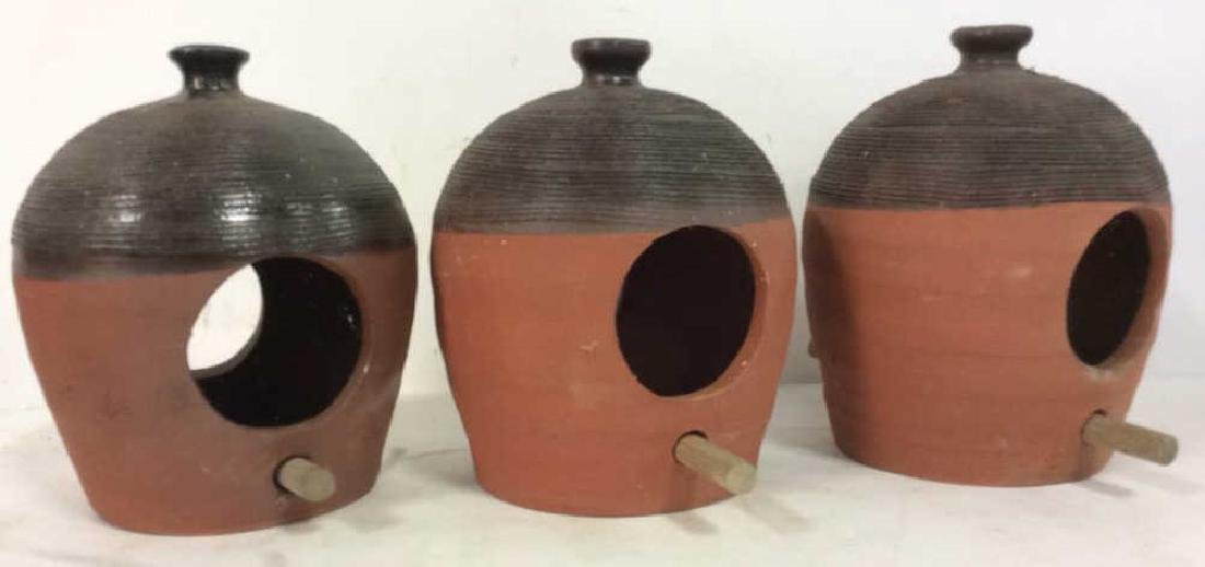 Lot 3 Terra-cotta Bird Feeders