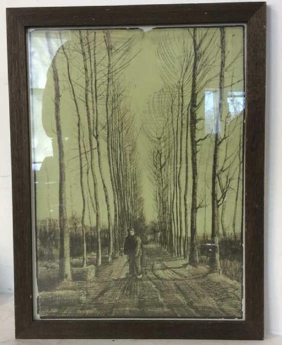 Vintage Framed  Tree Scape Art Print