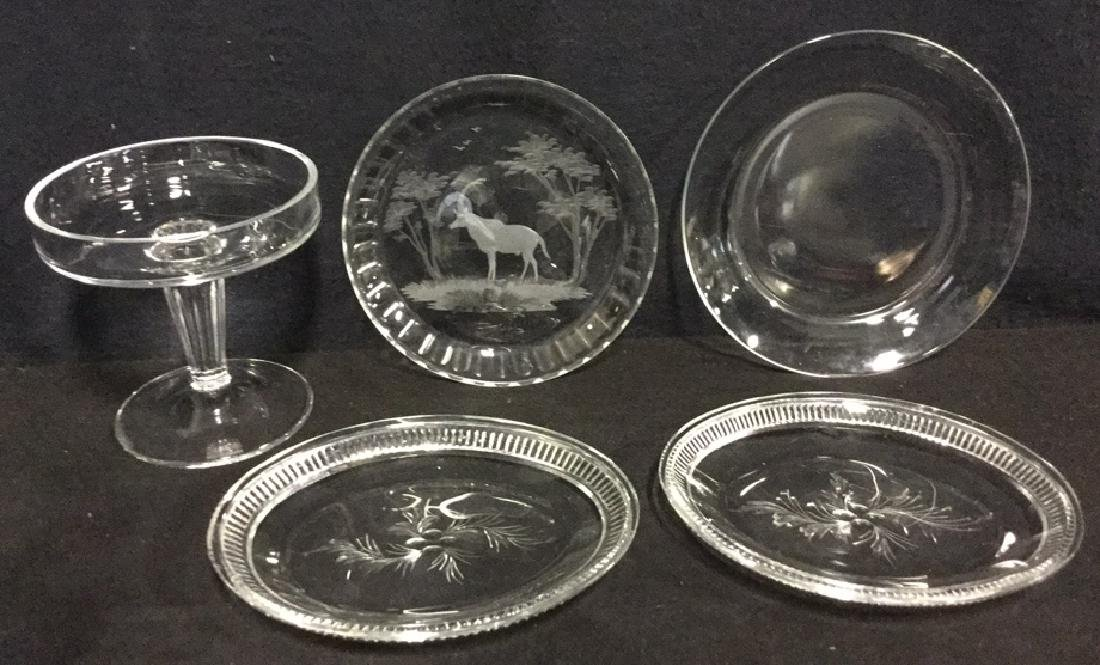 Lot 5 Mixed Glass And Crystal Tabletop Accessories