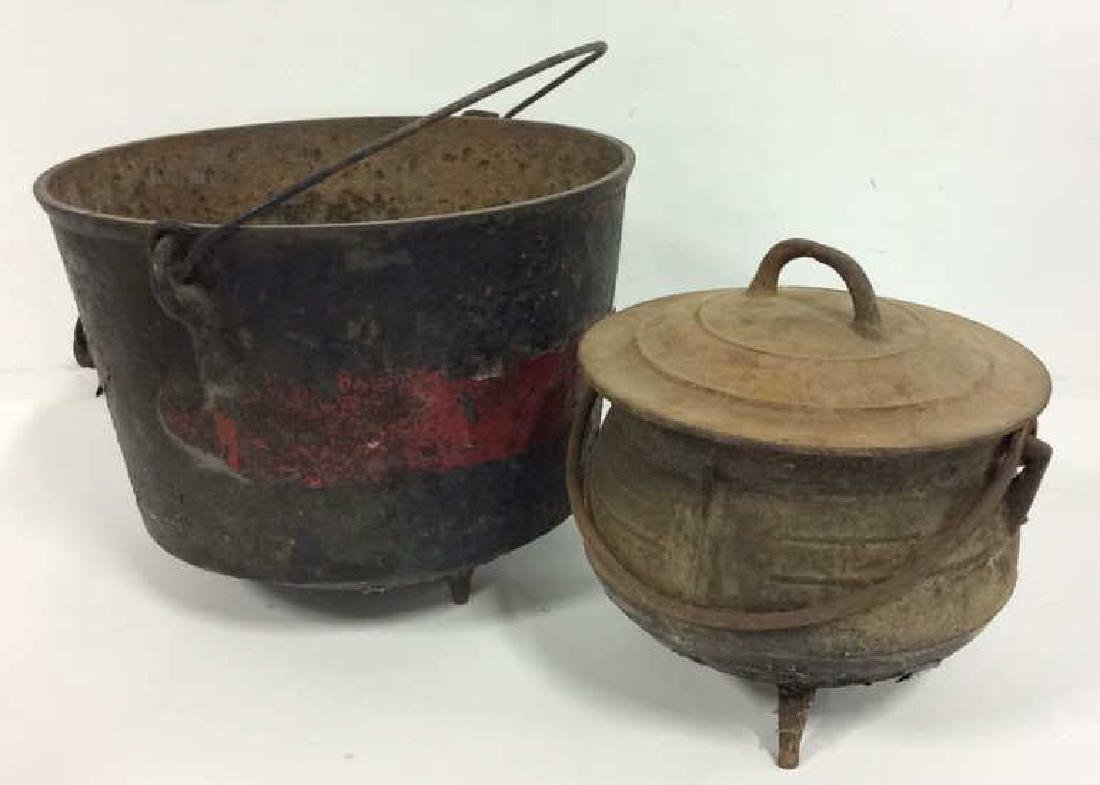Lot 2 Cast Iron Metal Footed Buckets Pails