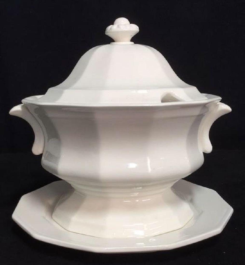 Lot 2 Porcelain Ceramic Soup Tureen And Plate