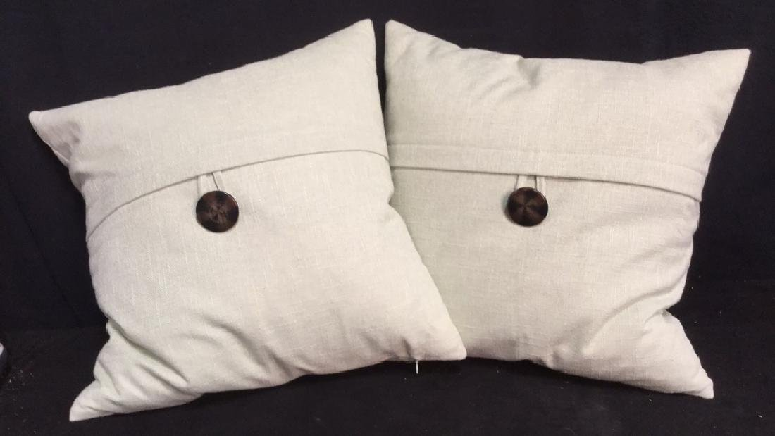 Pair Of Designer Feather Pillows With Buttons
