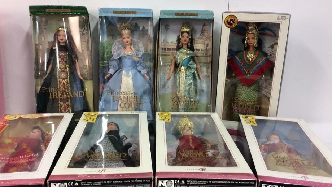 Lot 8 Collectible Dolls of the World Barbies w Box