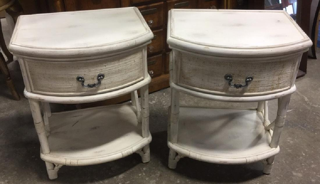 Pair Of Wicker And Wood Laura Ashley Side Tables