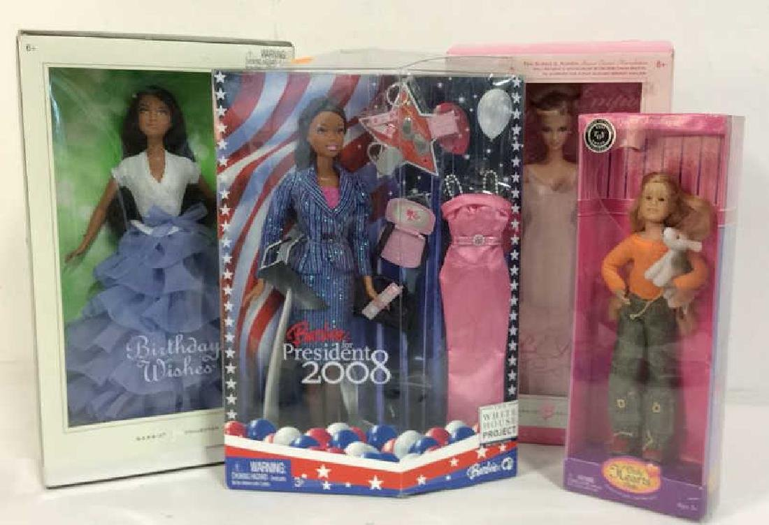 Lot 4 Assorted Barbie Dolls w Boxes