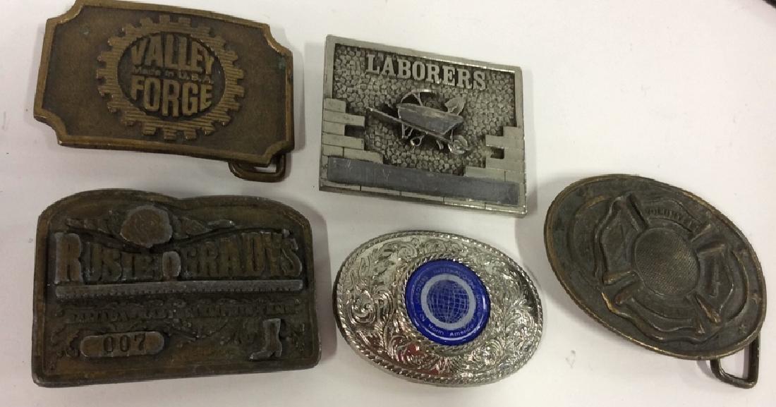 Lot 5 Brass Toned & Silver Toned Belt Buckles