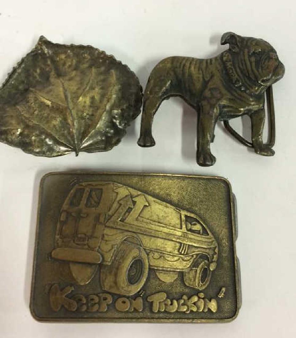Lot 3 Assorted Brass Toned Metal Belt Buckles