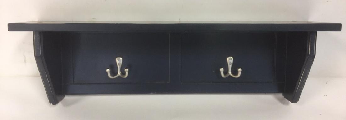 Navy Blue Hallway Shelf With Coat Hooks