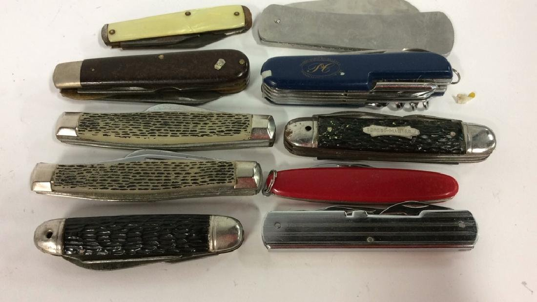Group Lot 10 Assorted Pocket and Swiss Army Knives