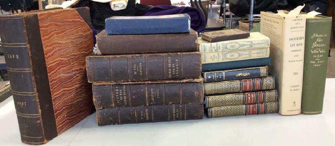 Group Lot Antique Vintage Books Leather more