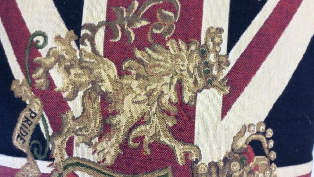British Tapestry Style Lion Emblem Toss Pillow - 3