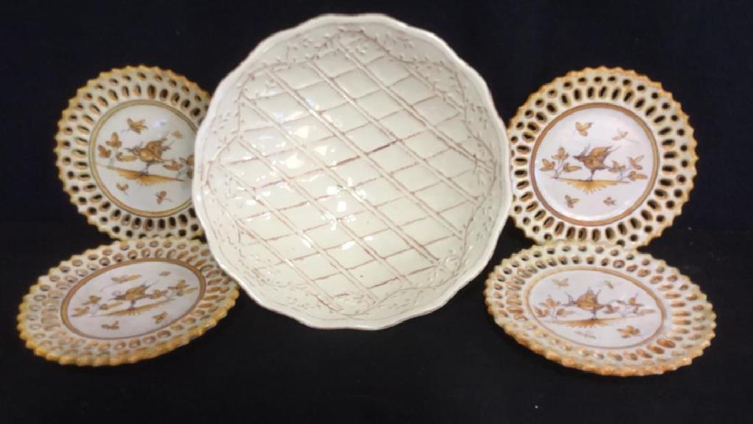 Pottery Bowl w 4 Pottery Plates