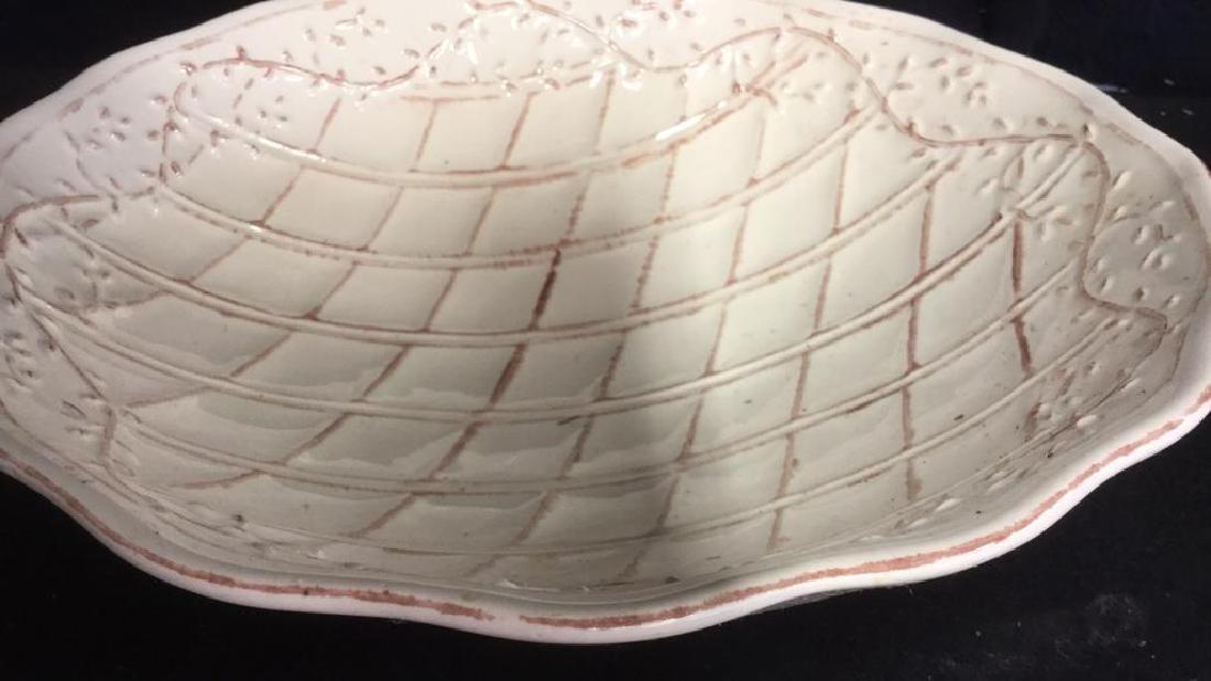 Pottery Bowl w 4 Pottery Plates - 3
