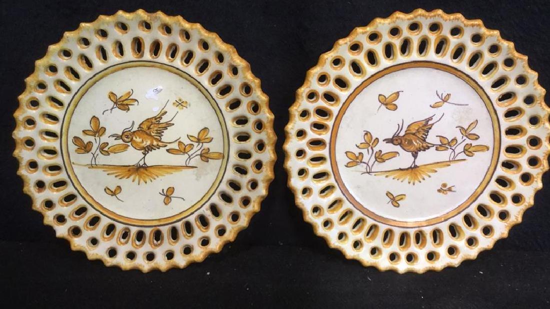 Pottery Bowl w 4 Pottery Plates - 4