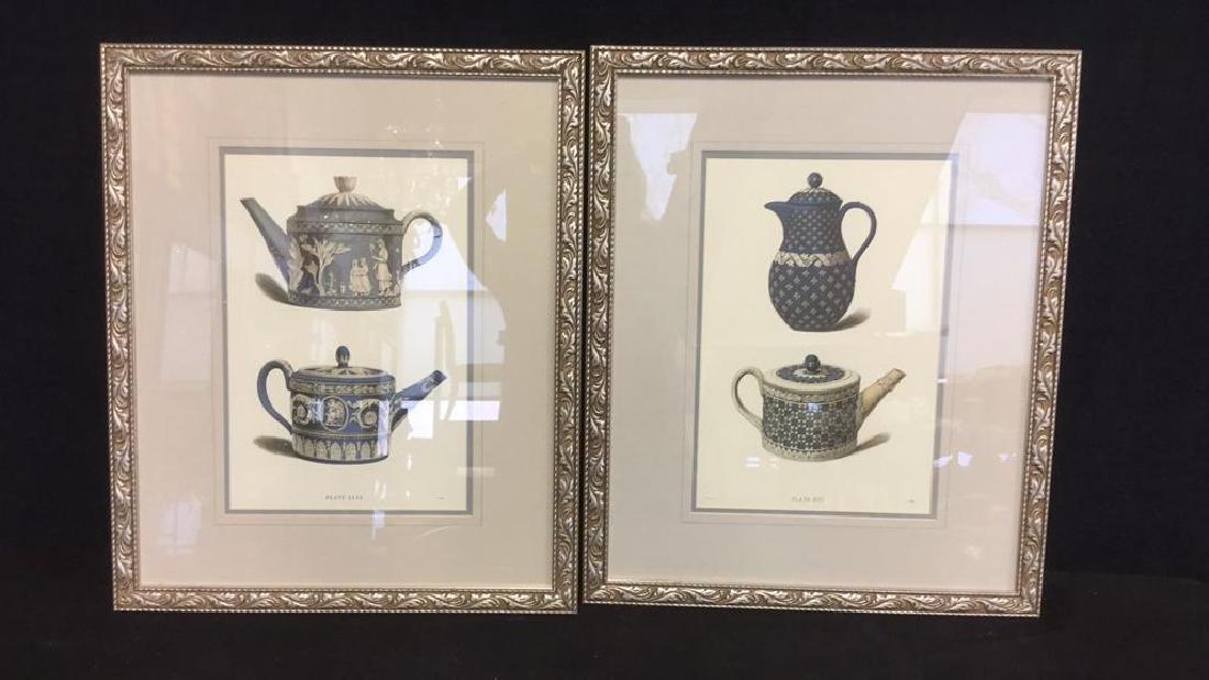 Pair Framed Prints Vintage Wedgewood Teapots