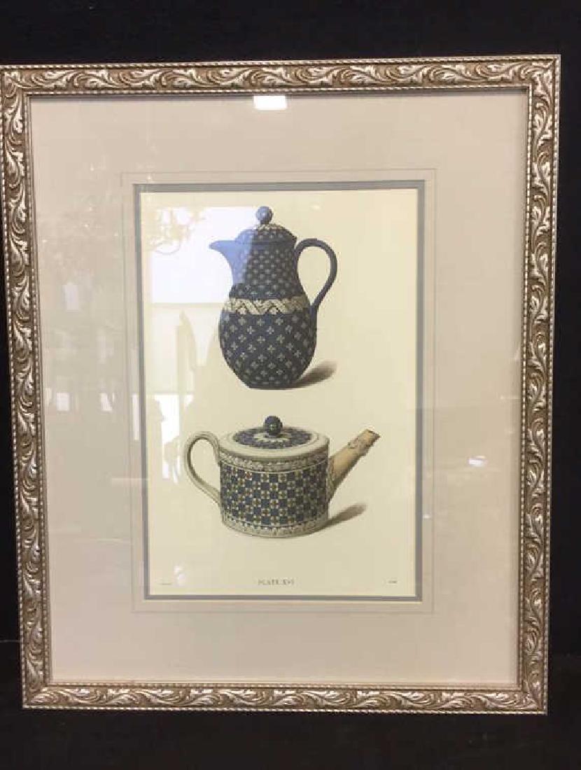 Pair Framed Prints Vintage Wedgewood Teapots - 2