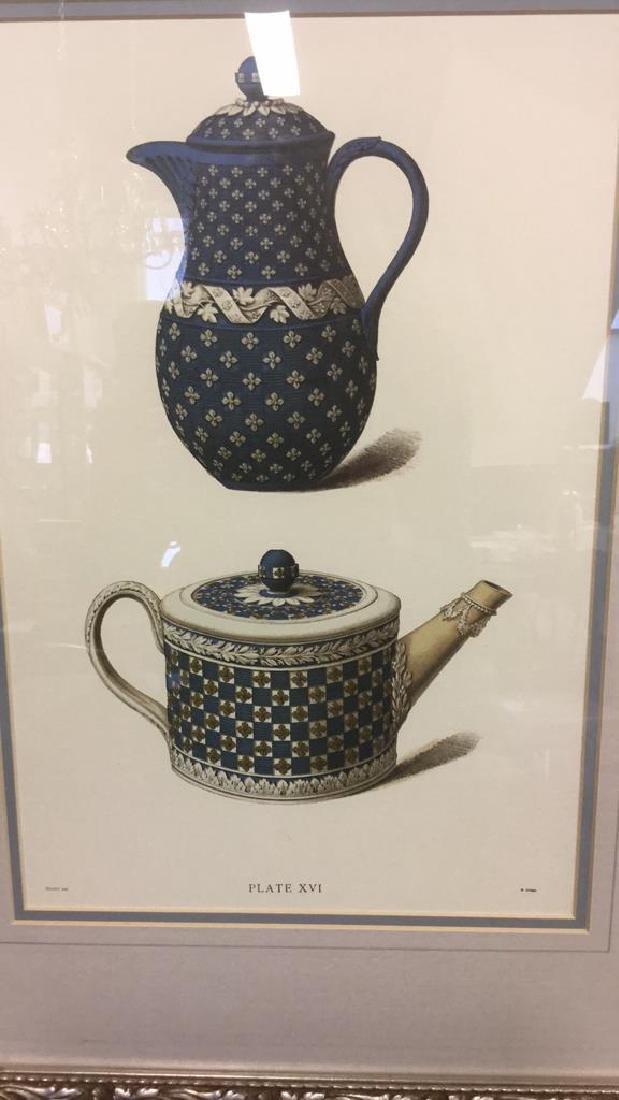 Pair Framed Prints Vintage Wedgewood Teapots - 3