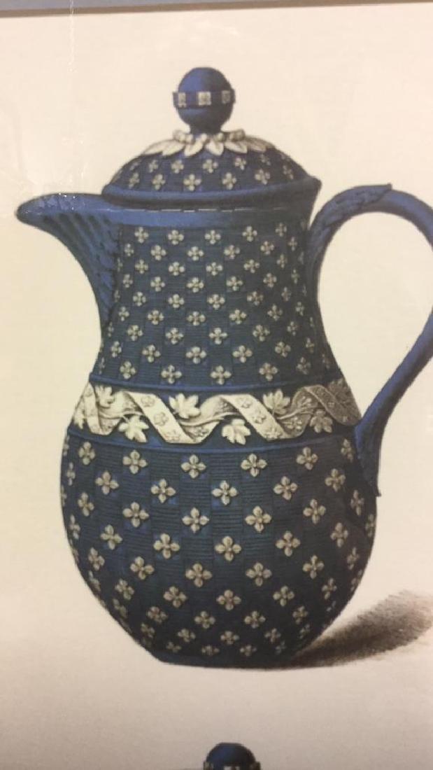 Pair Framed Prints Vintage Wedgewood Teapots - 4