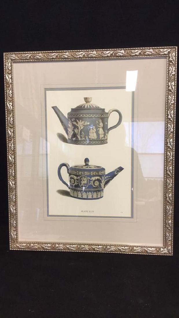 Pair Framed Prints Vintage Wedgewood Teapots - 5