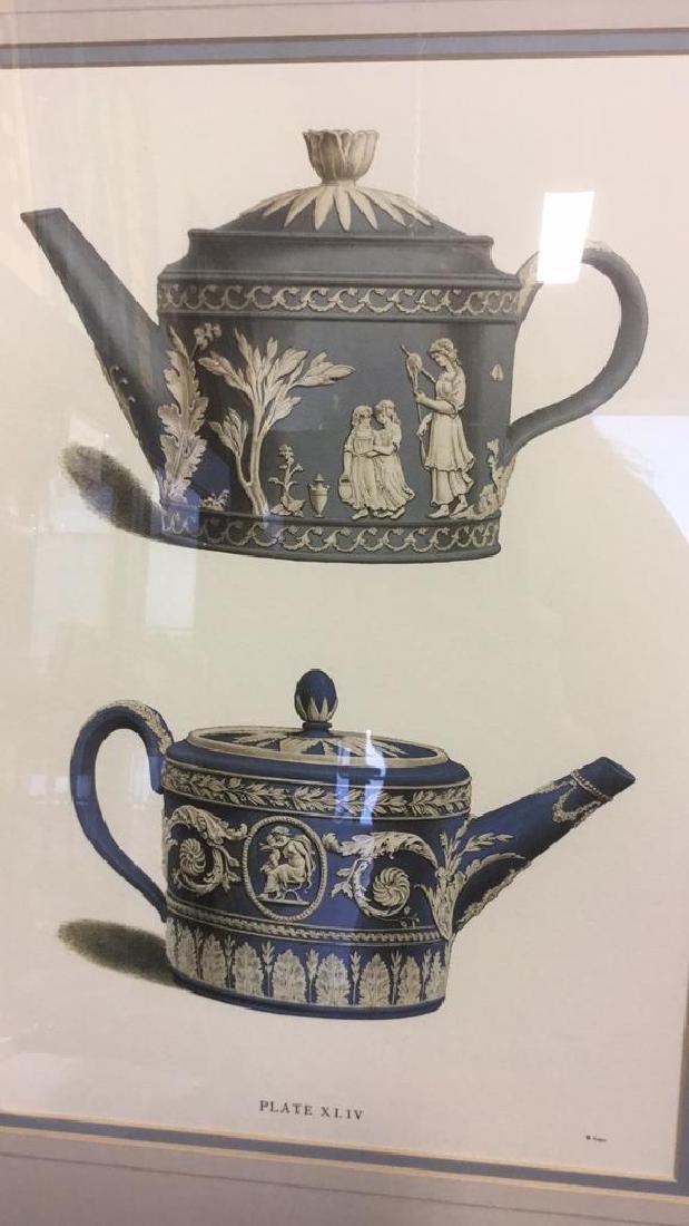 Pair Framed Prints Vintage Wedgewood Teapots - 6