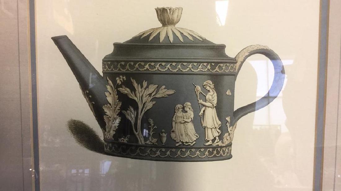 Pair Framed Prints Vintage Wedgewood Teapots - 7