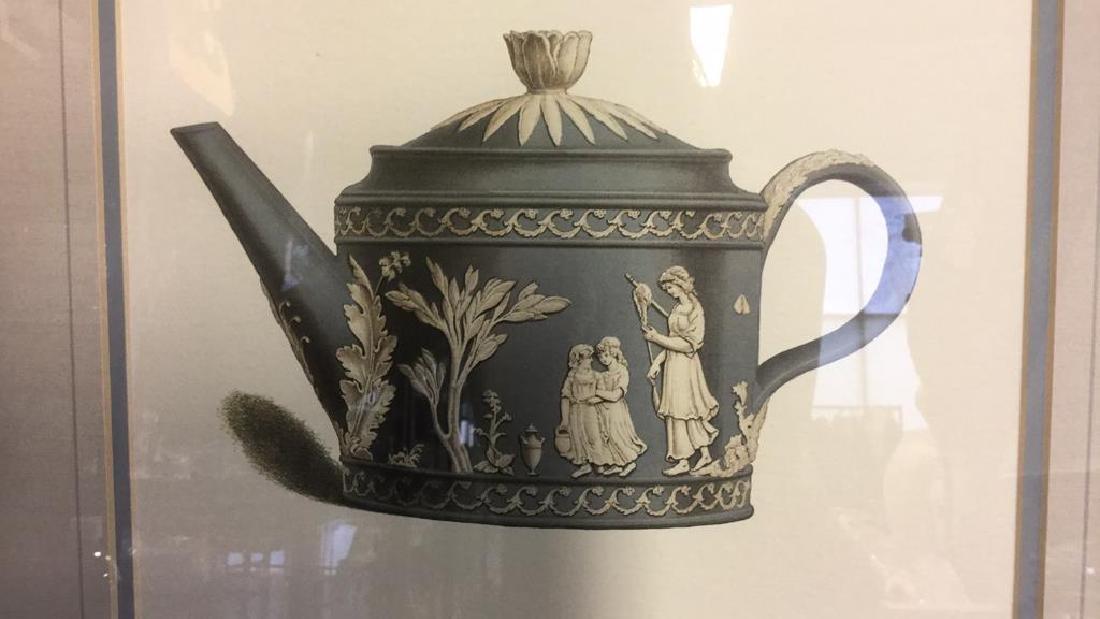 Pair Framed Prints Vintage Wedgewood Teapots - 8