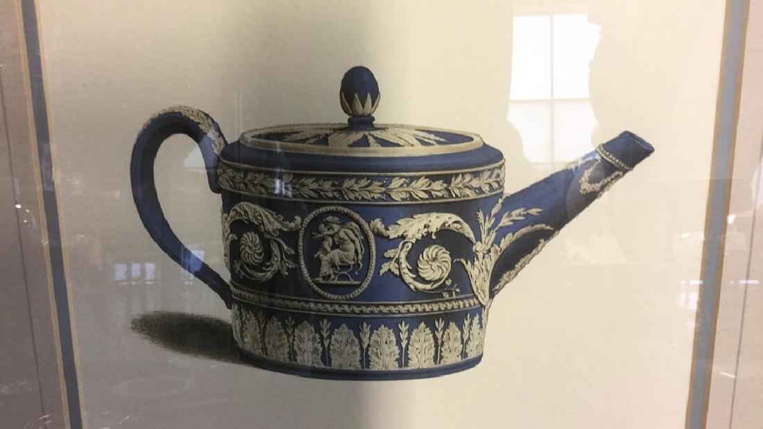 Pair Framed Prints Vintage Wedgewood Teapots - 9