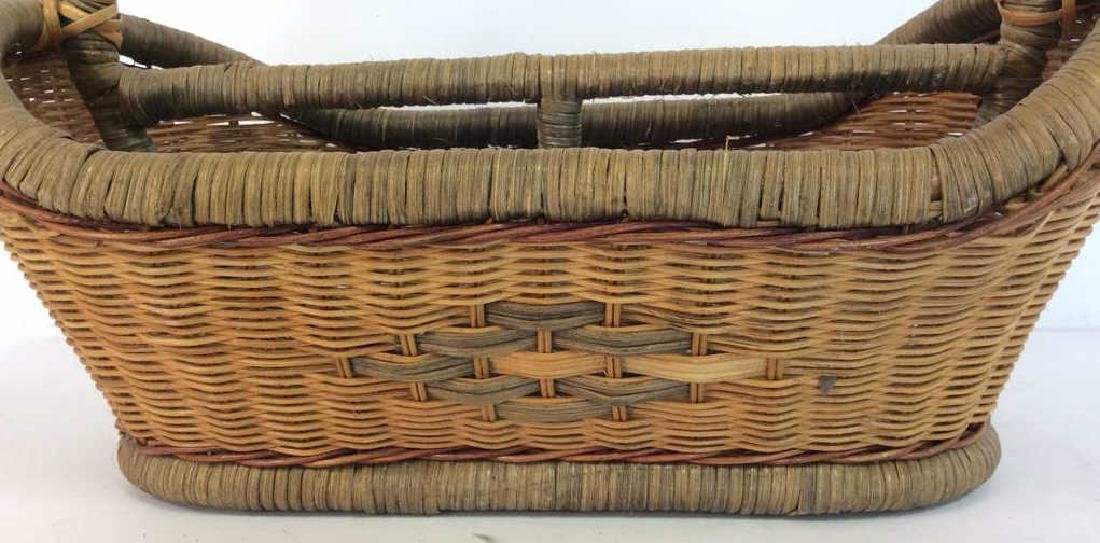 Vintage Hand Woven Carry Basket - 2