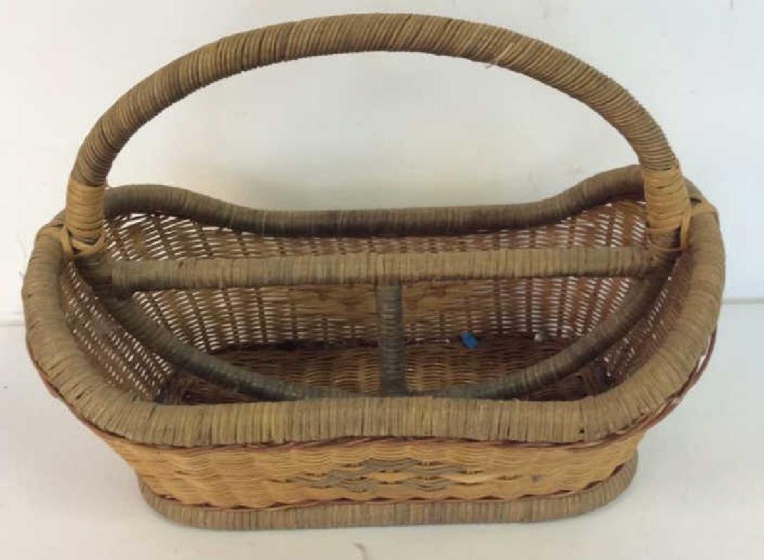 Vintage Hand Woven Carry Basket - 3