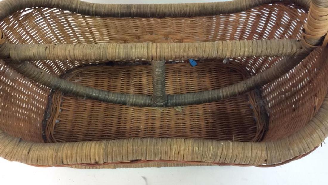 Vintage Hand Woven Carry Basket - 4