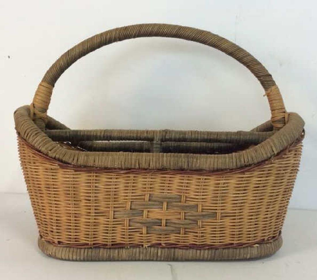Vintage Hand Woven Carry Basket - 6