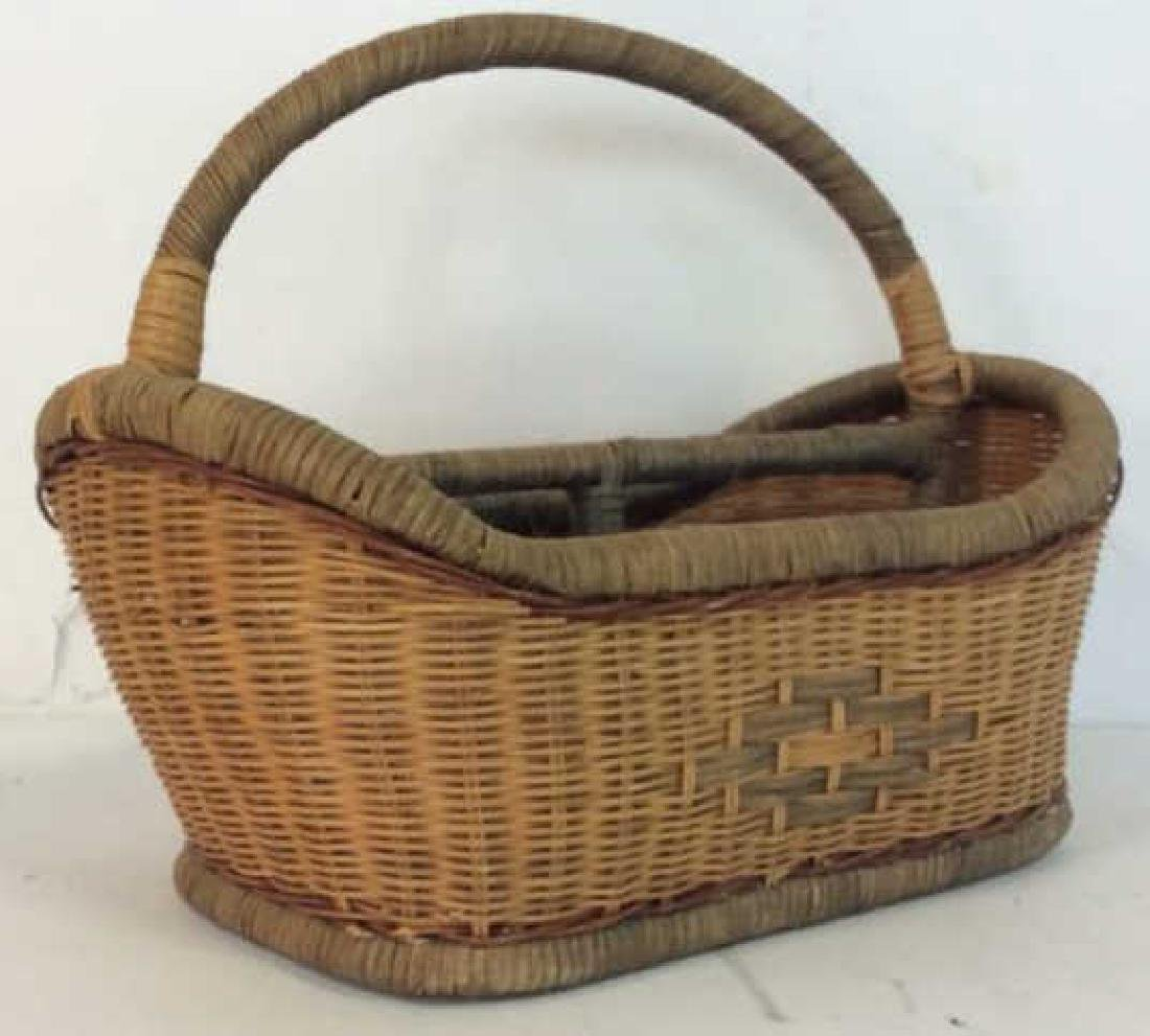 Vintage Hand Woven Carry Basket - 7