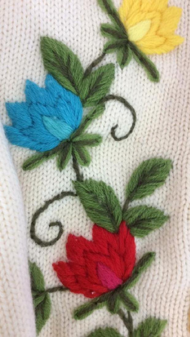 Vintage Knit and Embroidered Button Up Sweater - 4