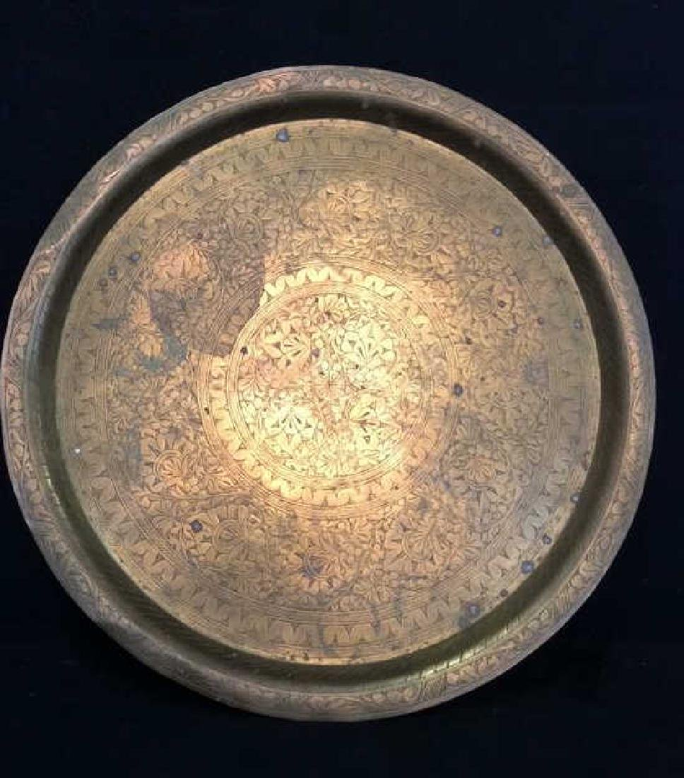 Brass Toned Decorative Tray W Floral Design